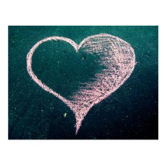 Kreide-Herz-Liebe Postkarte