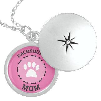 Kreis-Dackel-Mamma-Abzeichen Sterling Silberkette