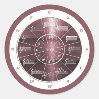 Kreis Fünftel-der Pflaume-farbigen Musik-Theorie Runder Aufkleber