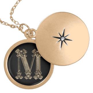Kreis-Halskette des Buchstabe-M Medaillon