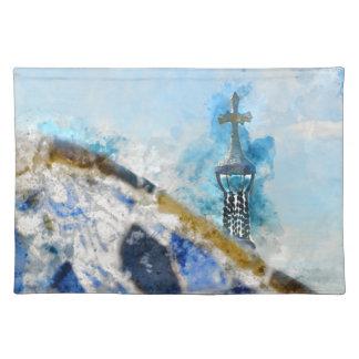 Kreuz bei Parc Guell in Barcelona Spanien Stofftischset