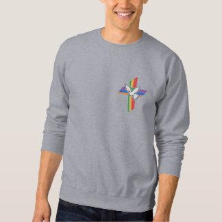 Kreuz des Friedens mit Taube und Regenbogen Besticktes Sweatshirt