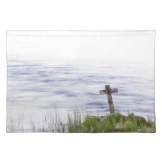 Kreuz durch Fluss Tischset