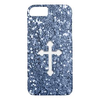 Kreuz im Weiß auf blauem Glitter-Blick iPhone 8/7 Hülle