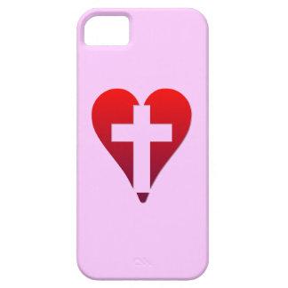Kreuz innerhalb des roten Herzens Hülle Fürs iPhone 5