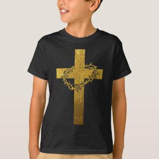 Kreuz und Dornenkrone im Gold T-Shirt