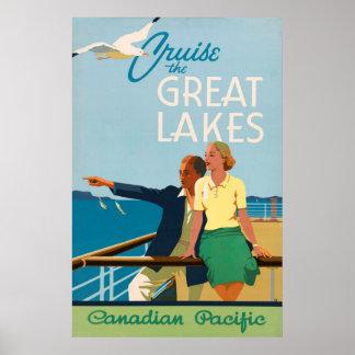 Kreuzen das Great Lakes Vintage Reise-Plakat Poster