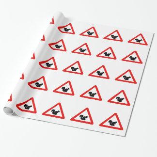 Kreuzende Eichhörnchen, Verkehrszeichen, Spanien Geschenkpapier