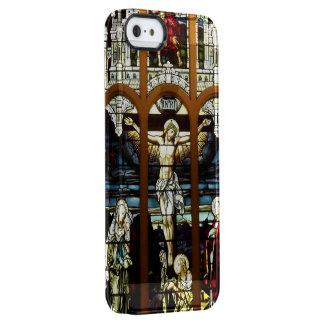 Kreuzigung des Jesus-Buntglas-Fensters Durchsichtige iPhone SE/5/5s Hülle