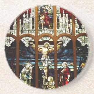 Kreuzigung - Jesus auf dem Kreuz - Buntglas Getränkeuntersetzer