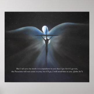 Kreuzigung, mit dem Heiliger Geist, mit Schrift Poster
