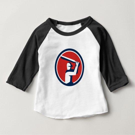 Kricket-Spieler-Schlagen-Kreis Retro Baby T-shirt
