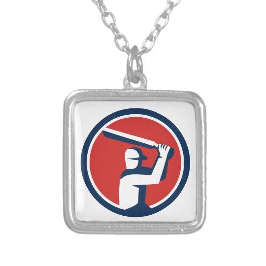 Kricket-Spieler-Schlagen-Kreis Retro Halskette Mit Quadratischem Anhänger