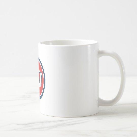 Kricket-Spieler-Schlagen-Kreis Retro Kaffeetasse
