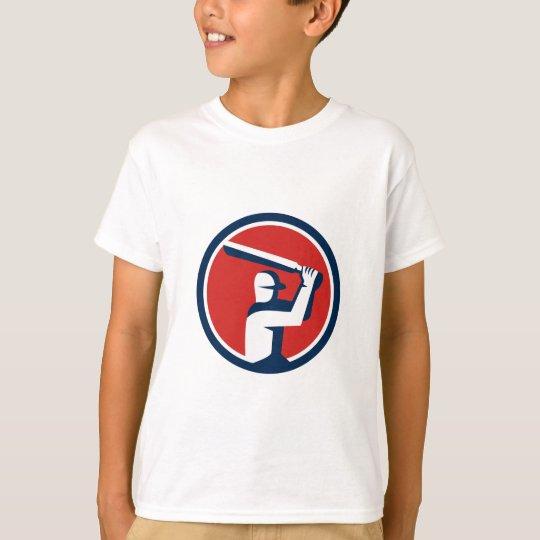 Kricket-Spieler-Schlagen-Kreis Retro T-Shirt