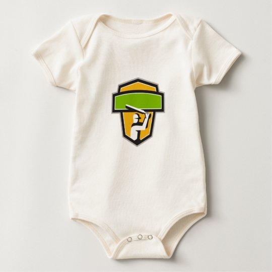 Kricket-Spieler-Schlagen-Wappen Retro Baby Strampler