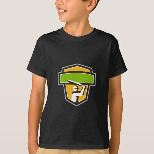 Kricket-Spieler-Schlagen-Wappen Retro T-Shirt