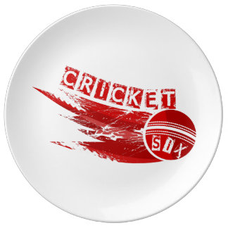 Kricketball geschlagen für sechs porzellanteller