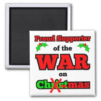 """""""Krieg auf Weihnachten"""" Weihnachtsmagnet (weiß) Quadratischer Magnet"""