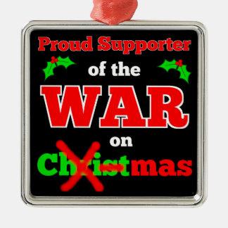 Krieg auf Weihnachtsweihnachtsverzierung Silbernes Ornament