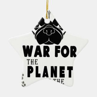 Krieg für Planeten des coolen Hundes der Möpse Keramik Ornament