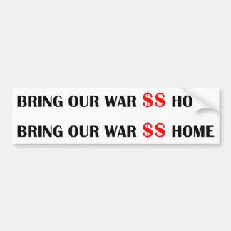 Kriegs-Dollar 2 fer-gotische Schriften rotes $$ Autoaufkleber