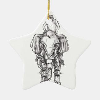 Kriegs-Elefantmahout-Reiter-Tätowierung Keramik Ornament