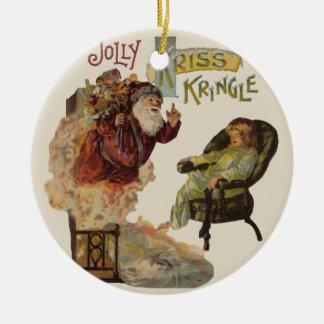 Kris Kringle Weihnachtsmann viktorianische Keramik Ornament