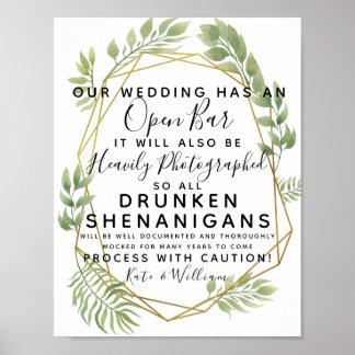 Kristalllaubgrün offenes Bar, das Zeichen wedding Poster