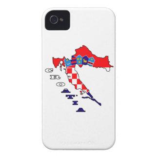 Kroatische Flagge in der Karte iPhone 4 Case-Mate Hülle