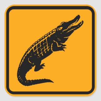 Krokodil-Australien-Zeichen (Satz von 6/20) Quadratischer Aufkleber