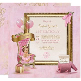 Kronen-Geburtstag Prinzessin-Pink Velvet Throne Quadratische 13,3 Cm Einladungskarte