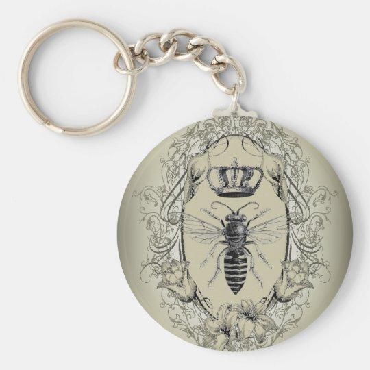 Kronen-Königinbiene französischen Land Chic Standard Runder Schlüsselanhänger