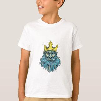 Kronen-Kopf-Holzschnitt Neptun Trident T-Shirt