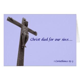 Kruzifix Christus starb für unsere Sünden V Grußkarte