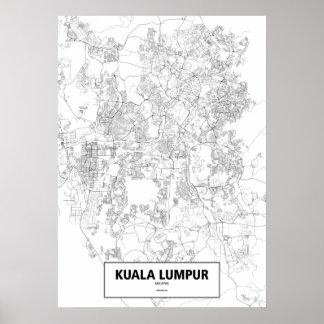 Kuala Lumpur, Malaysia (Schwarzes auf weißem, Poster