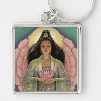 Kuan Yin Göttin des Mitleids Silberfarbener Quadratischer Schlüsselanhänger