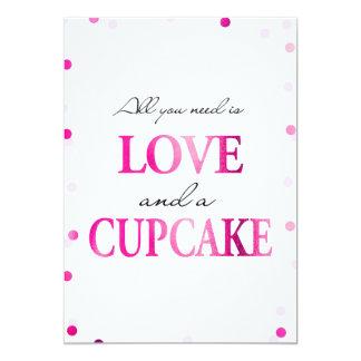 Kuchen-Brautparty-Zeichen| rosa magentaroter 12,7 X 17,8 Cm Einladungskarte