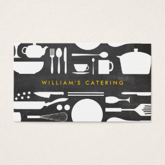 Küchen-Collage auf Tafel-Hintergrund Visitenkarten