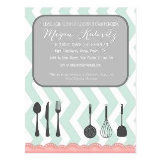 Küchen-Duschen-Einladung Postkarte