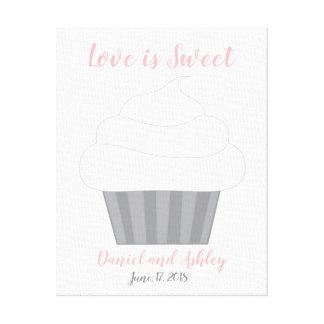 Kuchen-Fingerabdruck-Hochzeits-Gast-Buch Leinwanddruck