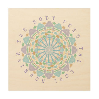 Küchen-Kunst-Zitat und Mandala Holzdruck