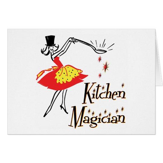 Küchen-Magier-Retro kochende Kunst-Karten Karte