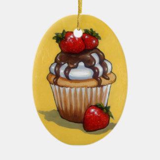 Kuchen-Malerei, Schokolade, Erdbeeren, Kunst Ovales Keramik Ornament