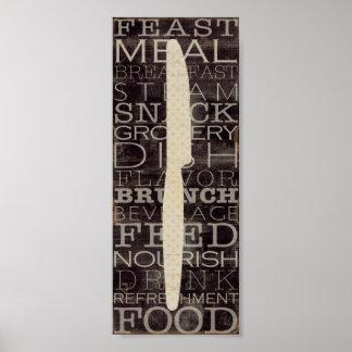 Küchen-Messer mit Wörtern Poster