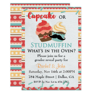 Kuchen-oder Bolzen-Muffin-Babyparty-Einladung 12,7 X 17,8 Cm Einladungskarte