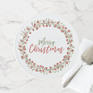 Kuchen-Stand des Weihnachtsbeeren-Kranz-| Tortenplatte