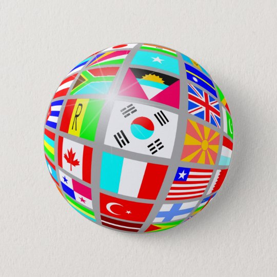 Kugel der Flaggen Runder Button 5,1 Cm