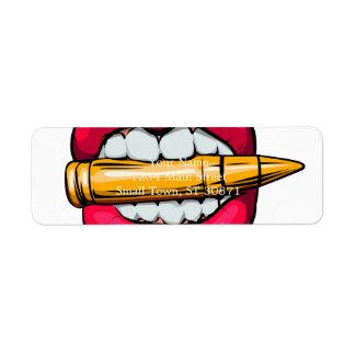 Kugel im Mund Rücksendeetikett