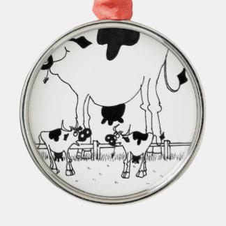Kuh-Cartoon 3372 Silbernes Ornament